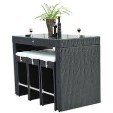 wicker bar height dining table:  piece black rattan bar table height dining set six square seat stools tuck