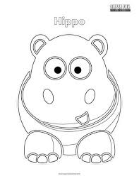 Cartoon Hippo Coloring Page Super Fun Coloring