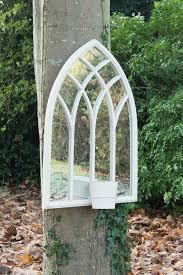 garden mirrors. Small Cream Plant Pot Garden Mirror 75x52cm Mirrors