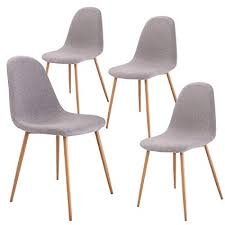 giantex dining side chairs set of 4 sy metal legs wood look fabric cushion seat back