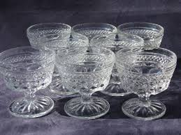 wexford waffle pattern pressed glass sherbets or ice cream dishes vintage anchor hocking