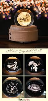 【58% off】<b>Moon Crystal Ball Wooden</b> Luminous Music Box Rotary ...
