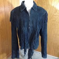 Wilsons Leather Size Chart Wilsons Leather Fringed Black Suede Zip Front Leather Womens