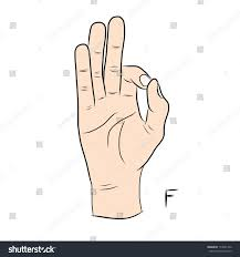 sign language letter f sign language alphabetthe letter f stock vector 174091376 shutterstock