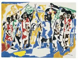 jacob lawrence solrs and students 1962 opaque watercolor over graphite on wove paper