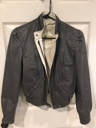 bermans leather jacket womens 80 s size 8 gray zip in lining