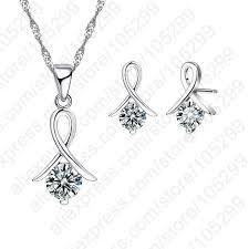 jei new fashion set for women cross cz 925 sterling silver pendant necklace stud earrings with free jewelry market