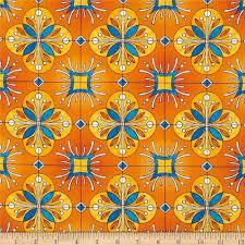Spanish Fabric Designs Esperanza Large Spanish Tile Mango Orange From Fabricdotcom