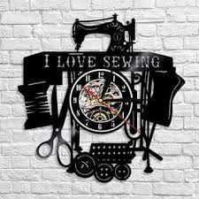 sewing machine craft black vinyl record wall clock bar cafe room home decor collection for mom momma