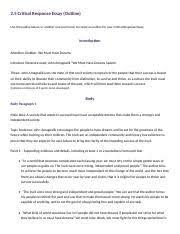 critical response essay planning final critical response  5 pages 2 5 critical response essay planning