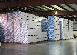 drywall stacks in warehouse