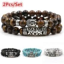 2pcs set mens natural volcanic stone moonstone bracelet bangle chakra crown beads rope chain couple bracelets homme