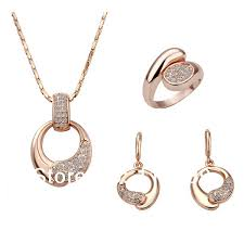 ls128 fashion rose gold color crystal pave taiji pendant necklace dangle earring finger ring women s fashion jewelry sets in jewelry sets from jewelry