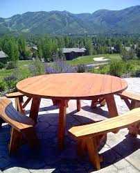 round picnic table with benches medium size of round wood picnic table round picnic tables unattached