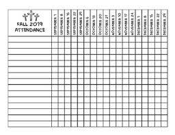 Sunday School Attendance Chart Free Printable Fall 2019 Sunday School Attendance Chart By Elisabeth