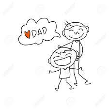 Disegno A Mano Cartoon Bambini Felici Che Giocano Con Il Papà
