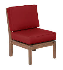 claremont eucalyptus wood outdoor patio sectional armless chair
