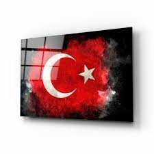 Türk Bayrağı Cam Tablo