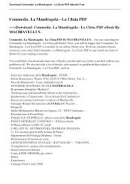 Commedie. La Mandragola - La Clizia pdf MACHIAVELLI N.