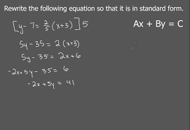 changing point slope form to standard form