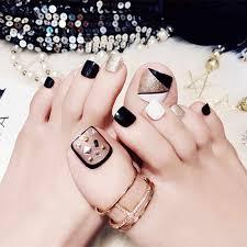 24 Pcs Set Fresh Style Toe Fake Nails 3d Foot Full Toes Nail Art Tips False Nails For Lady Girls Toenails Press On Nail