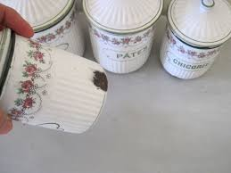 French Canisters Kitchen Antique Enamel Set Of 6 Kitchen Canisters By Bb Of Austria For The