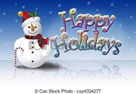 Holidays Snowman Snowman And Happy Hols On Ice Illustration Of Snowman With Bobble