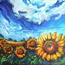 starry night and sunflower field oil painting