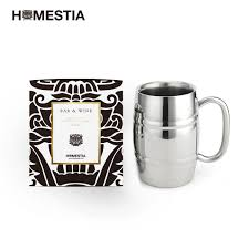 homestia insulated beer mug double wall stainless steel beer stein barrel shape 14 5oz for coffee