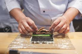 Sushi Cook Cook Hands Making Japanese Sushi Roll Japanese Chef Preparing