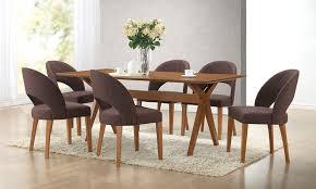 modern kitchen table set. Lucas Mid-Century-Modern Dark Walnut Wood Dining Table With 6 Chairs: Modern Kitchen Set