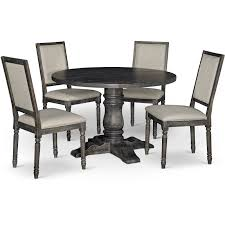 dove gray 5 piece dining set with round table muses rc willey furniture