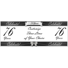 happy birthday customized banners 76 happy birthday party supplies 76 years classy black