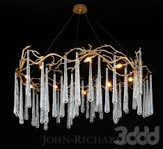 john richard brass and glass teardrop eight light chandelier
