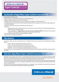 Bajaj Allianz Health Insurance Premium Chart Pdf Bajaj Allianz Super Cashgain Insurance Plan Pdf Max