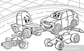 Sticker Auto Voertuigen Cartoon Kleurplaat Pixers We Leven Om