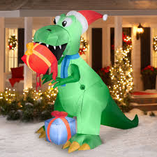 Dinosaur Lawn Decorations 75 T Rex With Present Airblown Inflatable Christmas Prop