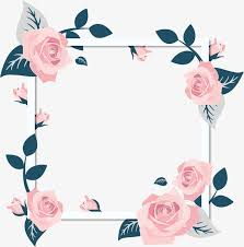Romantic Valentines Day Pink Roses Flower Vine Frame Card Border