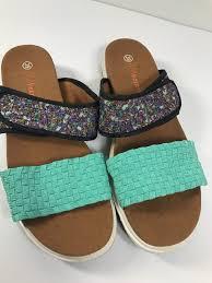 size 39 in us women bernie mev womens apollo mint paisley slides sandals flip flops