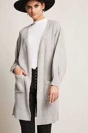 purl knit open front cardigan