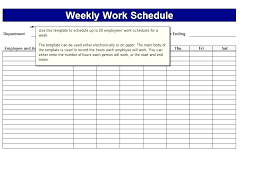 Microsoft Excel Daily Work Schedule Template Calendar Weekly Bi