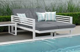 balcony double chaise daybed aluminum multipurpose modern stock outdoor furniture