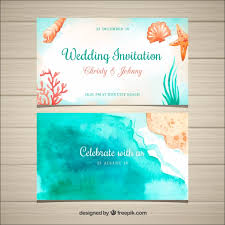 Beach Invitation Watercolor Wedding Invitation With Beach Elements Vector