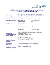 Bladder Chart Nhs Guidelines For The Urinary Catheterisation Of Male Nhs