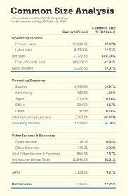 operating statement format a sample income statement modified for common size analysis