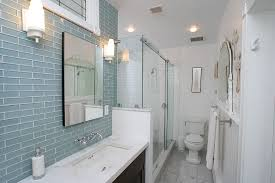 bathroom glass tile shower. subway glass tile backsplash bathroom eclectic with blue shower. image by: united makers shower w