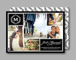 Collage Wedding Invitations Monogram Collage Just Married Wedding Announcement