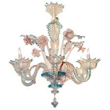 lovely antique blue and pink murano glass chandelier for