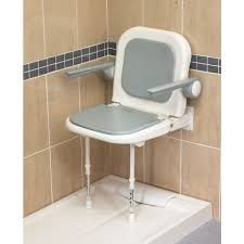 wall mounted fold up padded shower seat with back and arms grey 4000 series 04230p