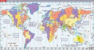 World Timezone Map Displays The Standard Time Zones Around